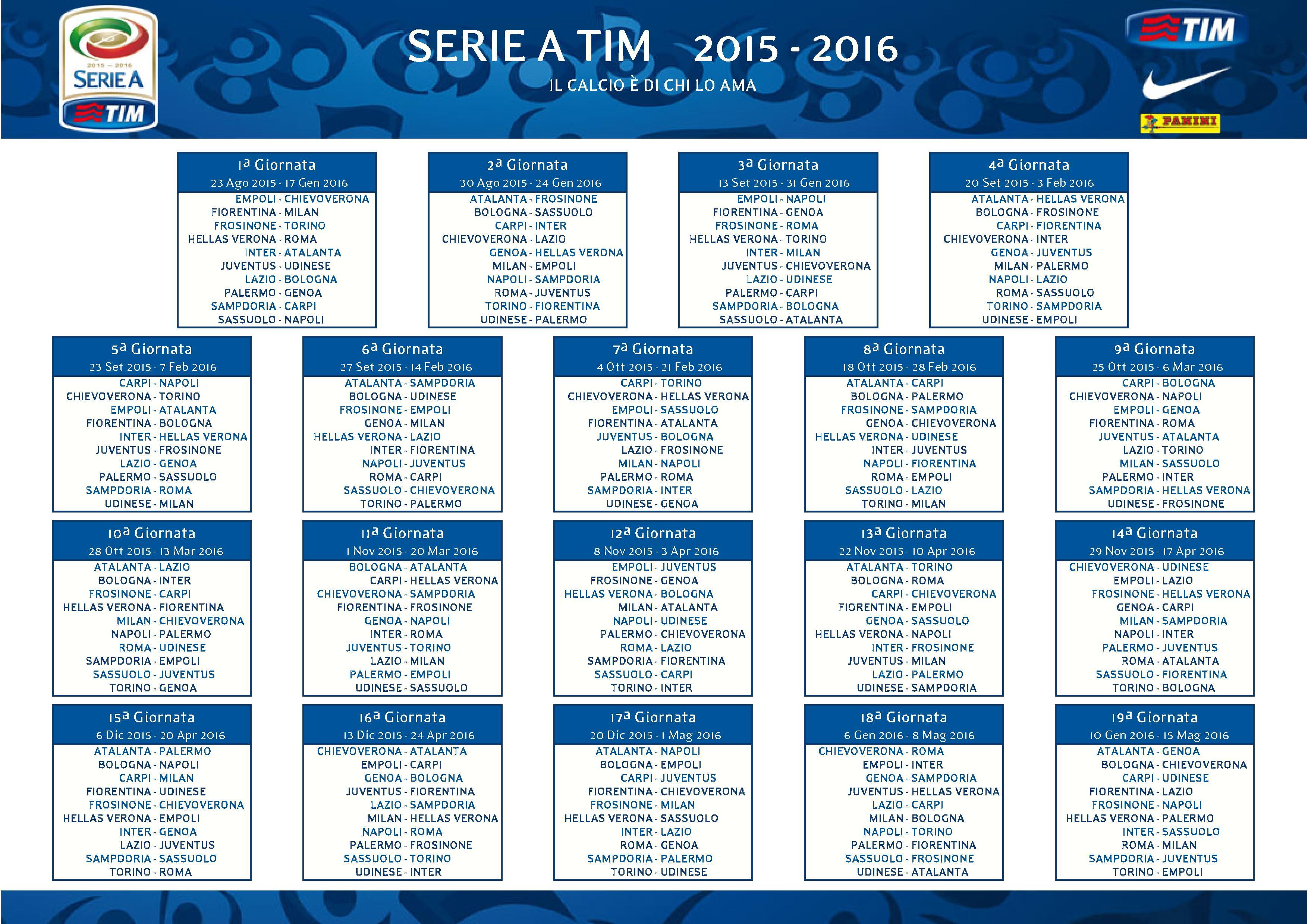 1600a09c8e Serie A 2015/2016, il calendario in diretta su Sky Sport, Premium Sport,  Cielo Tv e Italia Due