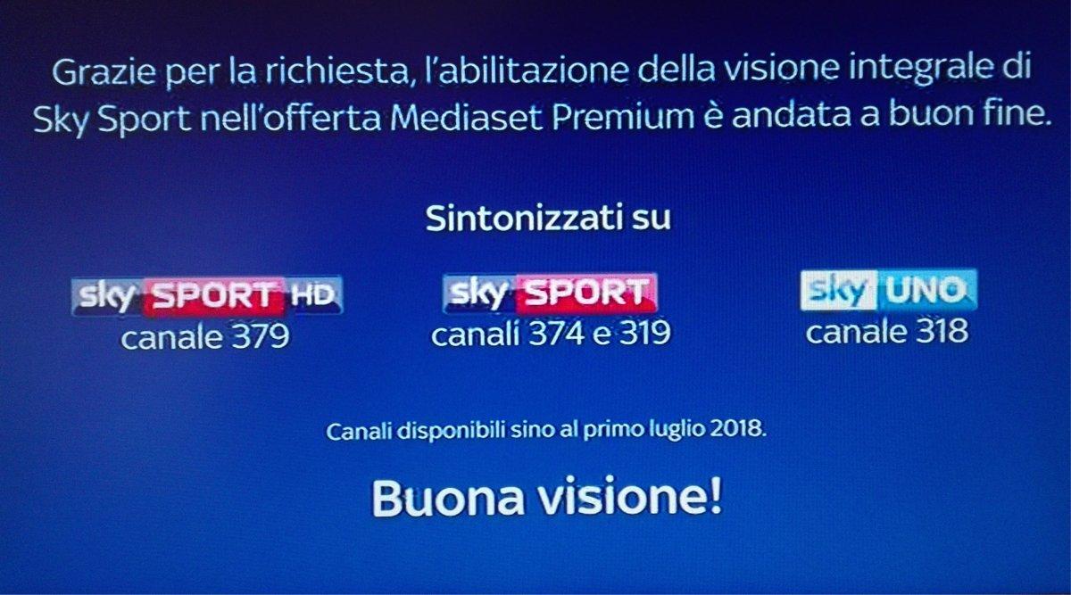 Come attivare la visione integrale del canale Sky Sport su Mediaset Premium
