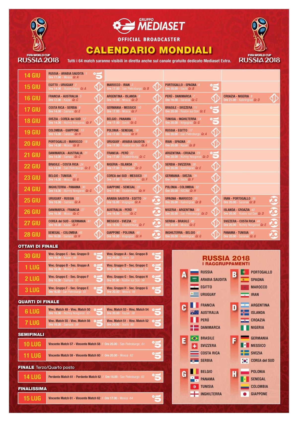 Mondiali Calcio 2020 Calendario.Mondiali 2020 Calendario Mediaset Calendario 2020