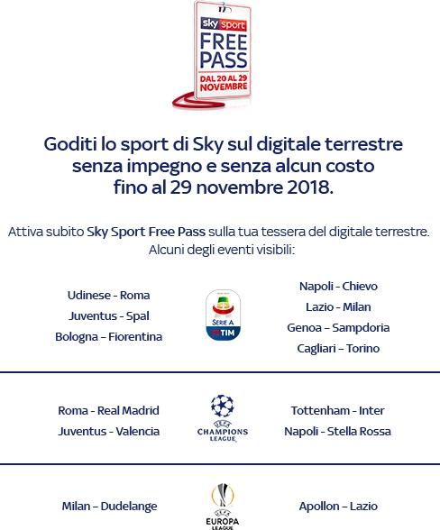 Sky Sport Free Pass, sul digitale terrestre senza costi aggi