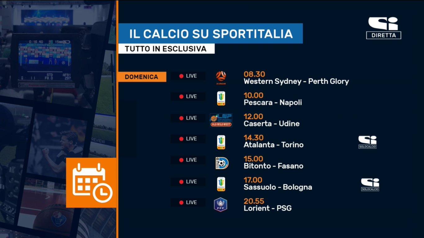 Sportitalia, Palinsesto Calcio da 17 al 20 Gennaio