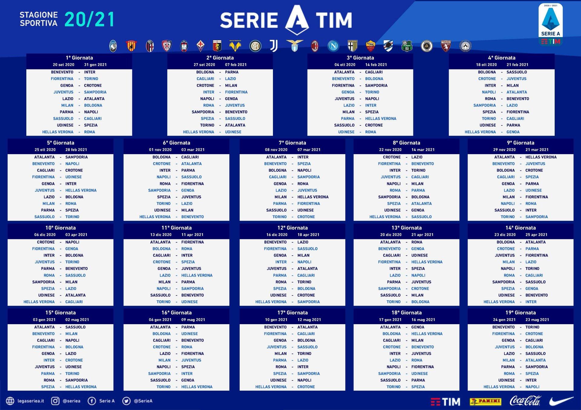 Serie A 2020   2021, programmazione tv prime 4 giornate Sky Sport