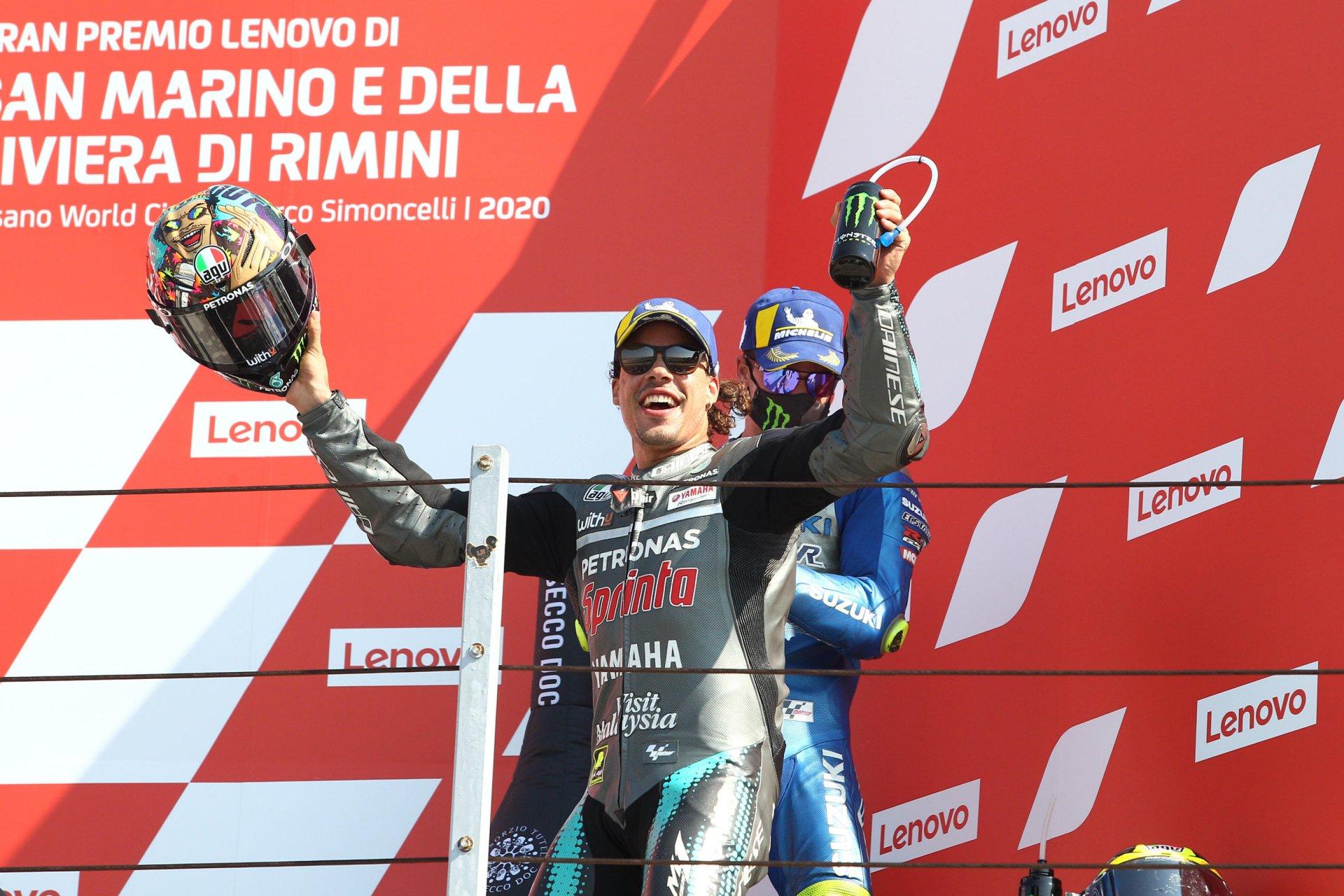 MotoGp Emilia Romagna 2020, Bagnaia sorride comunque. Dovisioso di rincorsa