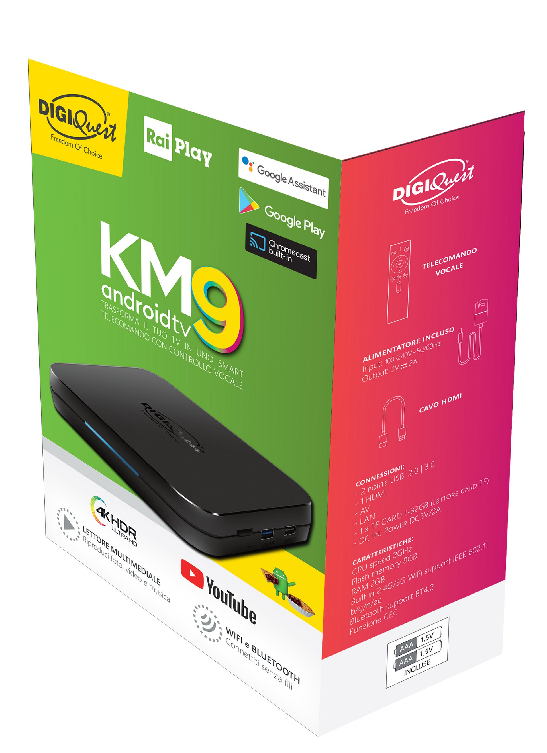 Box Digiquest KM9 Android TV 9 (Certificato Android TV)