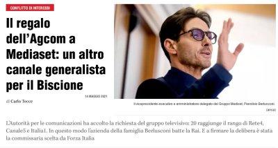 AGCOM precisa: «Nessun canale generalista regalato a Mediaset»