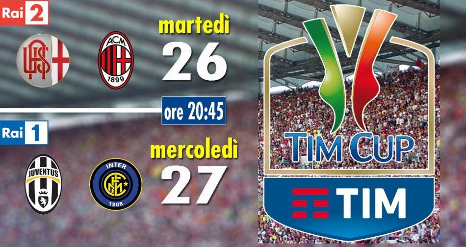 Rai Sport, Coppa Italia Tim Cup 2015/2016 Semifinale Andata - Programma e Telecronisti