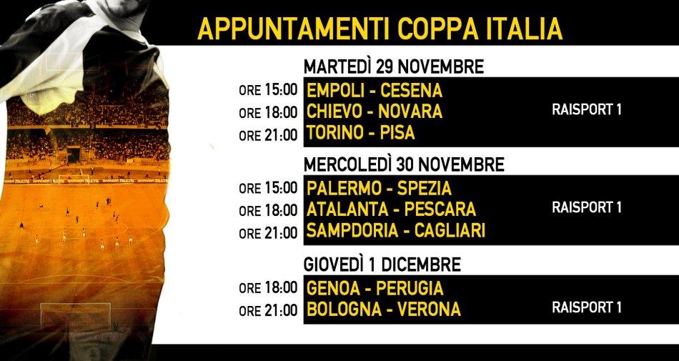 Rai Sport, Coppa Italia Tim Cup 2016/2017 4 Turno - Programma e Telecronisti
