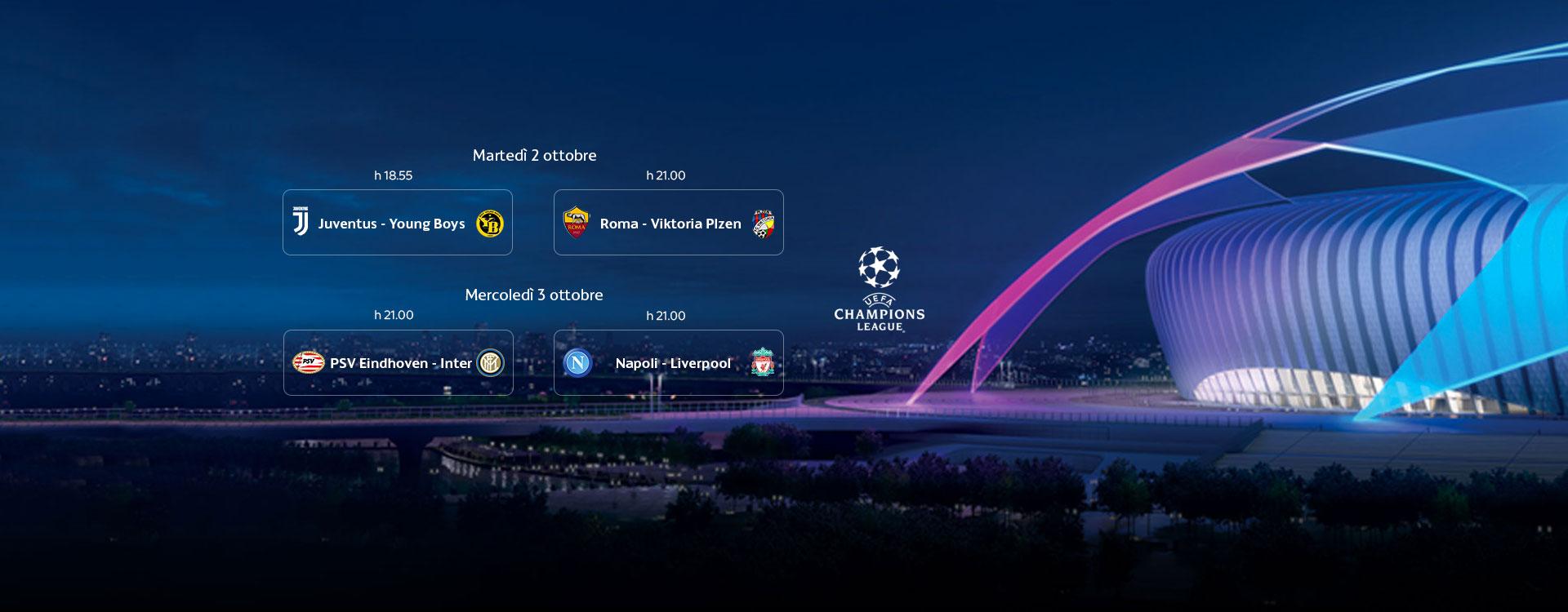 Sky Sport Champions 2a Giornata, Diretta Esclusiva | Palinsesto e Telecronisti
