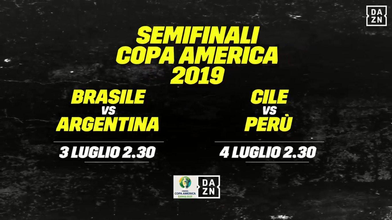 DAZN Copa America, Semifinali, Diretta Esclusiva, Palinsesto e Telecronisti