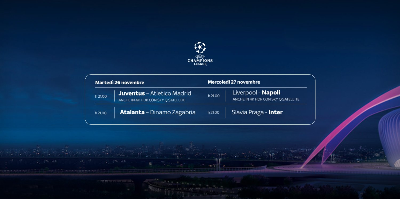 Sky Sport Diretta Champions #5, Palinsesto Telecronisti Juventus, Inter, Napoli, Atalanta