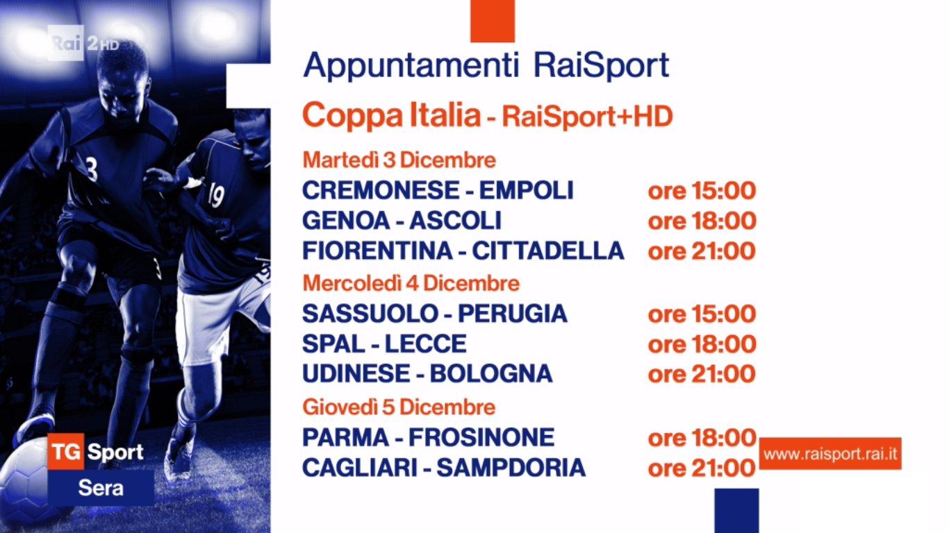 Rai Sport, Coppa Italia 2019/2020 4 Turno - Programma e Telecronisti
