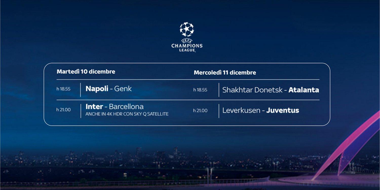 Sky Sport Diretta Champions #6, Palinsesto Telecronisti Juventus, Inter, Napoli, Atalanta
