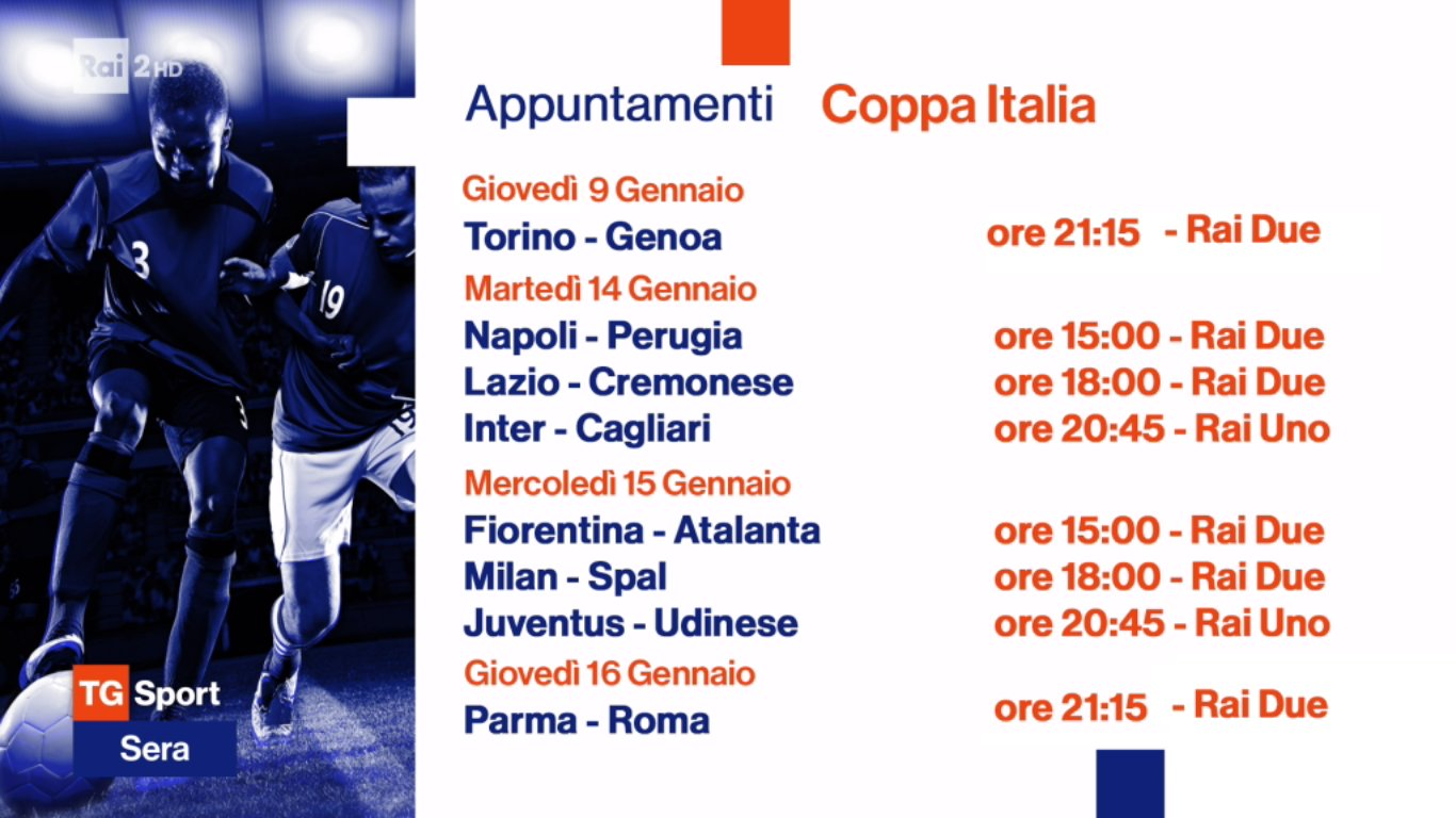 Rai Sport, Coppa Italia 2019/2020 Ottavi - Programma e Telecronisti