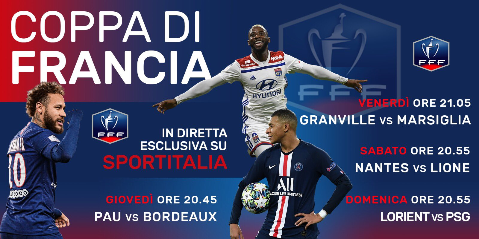 Sportitalia, 16esimi Coppa di Francia - Palinsesto e Telecronisti