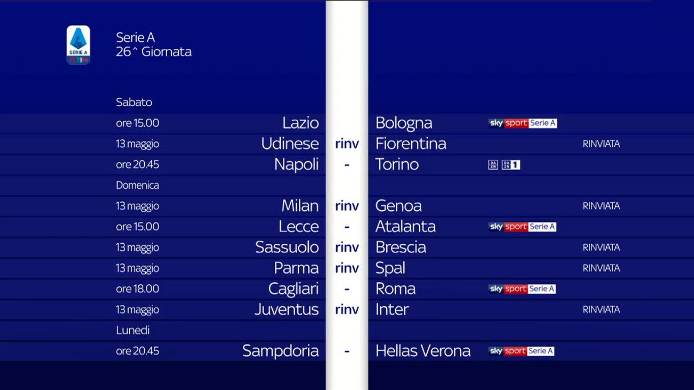 Sky Sport Serie A 26 Giornata, Diretta Esclusiva Palinsesto Telecronisti