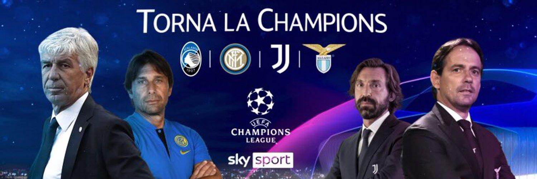 Sky Sport Diretta Champions #4, Palinsesto Telecronisti Juventus, Inter, Atalanta, Lazio