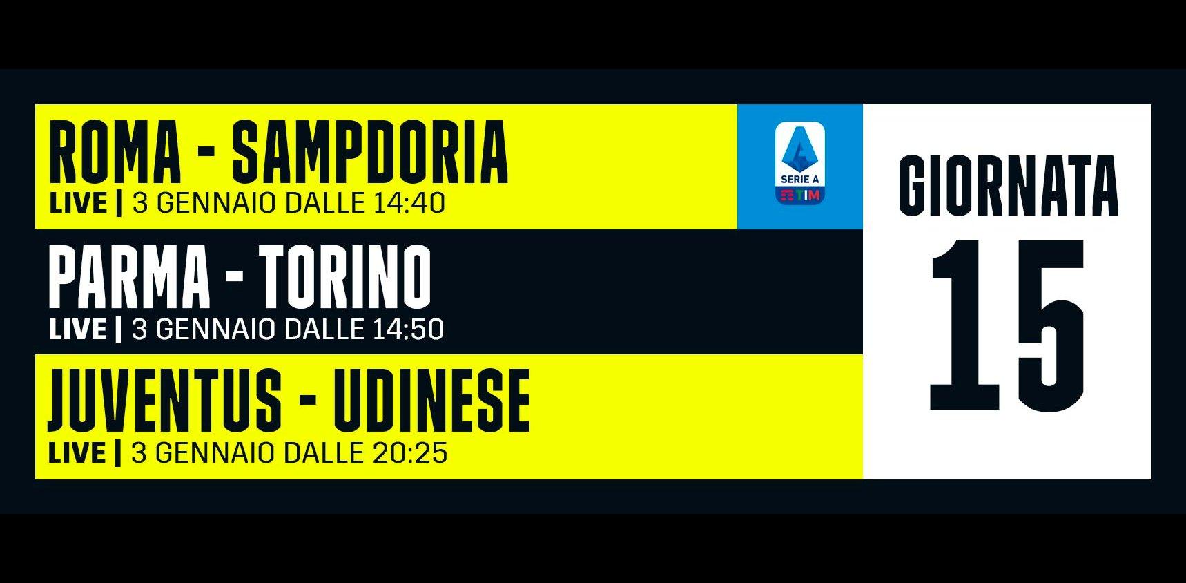 DAZN Serie A 15a Giornata, Diretta Esclusiva | Palinsesto Telecronisti (Sky 209)