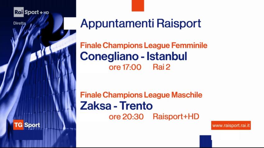 Sabato Rai Sport, 1 Maggio 2021   in diretta Champions Volley, Tuffi, Serie B, Atletica
