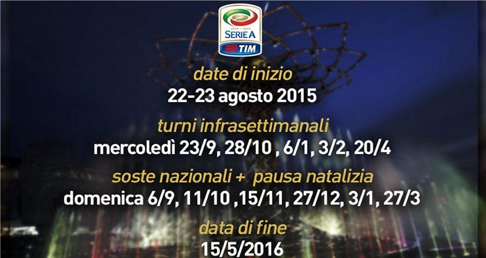 Serie A 2015 - 2016, anticipi e posticipi Sky Sport e Premium Mediaset | 27a - 30a giornata