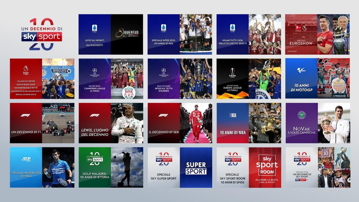 Un decennio di Sky Sport: maratona di speciali sul canale 205