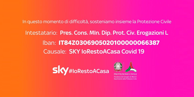 Sky lancia campagna di raccolta fondi a sostegno della Protezione Civile