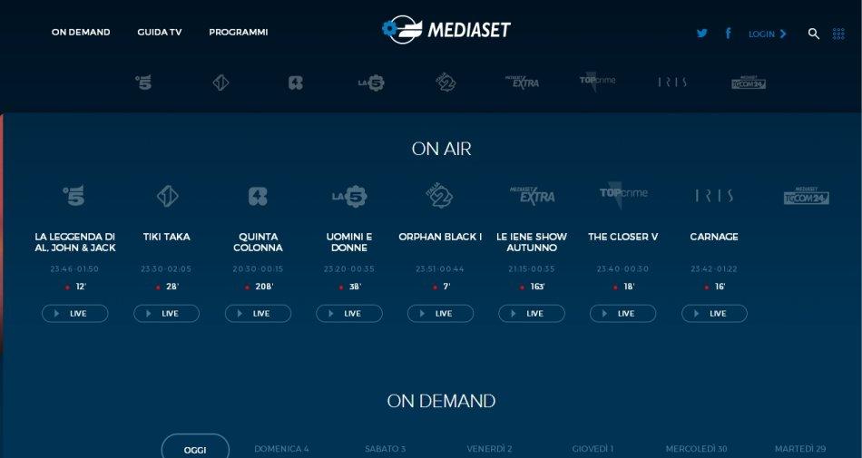 Mediaset attiva la diretta streaming dei canali free sul sito e via app