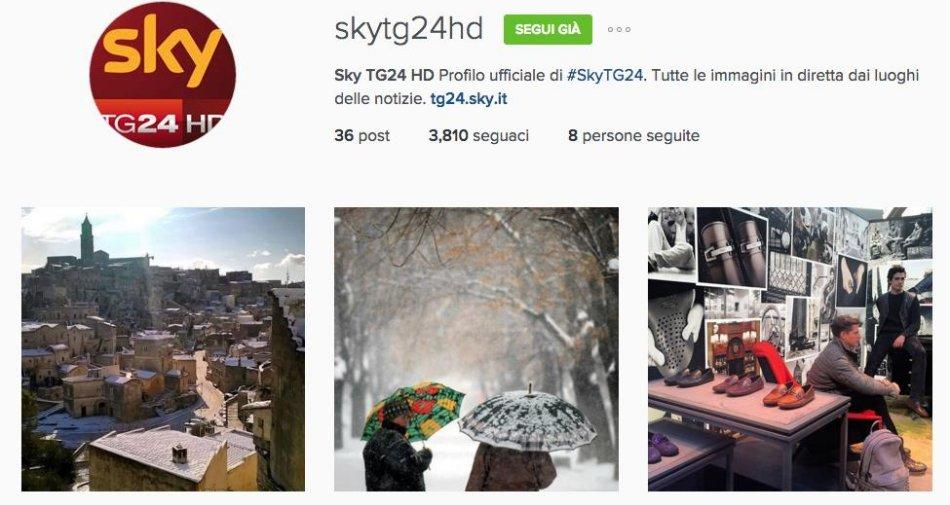 Sky TG24 HD arriva su Instagram, grazie alle foto l'informazione con tutte le notizie