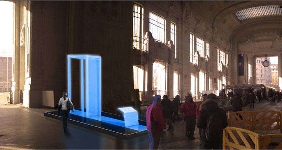 Sky 3D porta installazione luminosa in attesa di San Pietro e le Basiliche Papali di Roma 3D