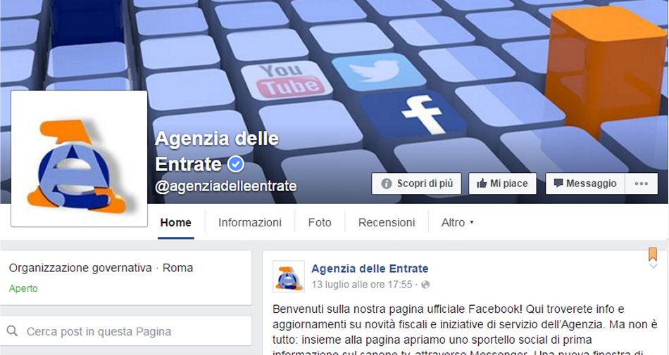 Agenzie Entrate apre pagina Facebook e offre informazioni via chat su canone Rai
