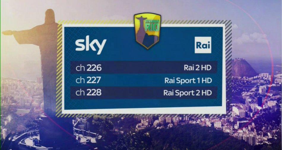 Olimpiadi Rio2016 visibili in HD anche per i clienti Sky sui canali 226 - 227 - 228