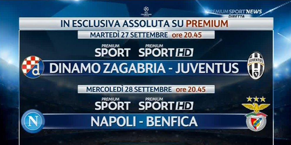 Champions, in esclusiva assoluta solo su Premium Dinamo Zagabria - Juventus e Napoli-Benfica
