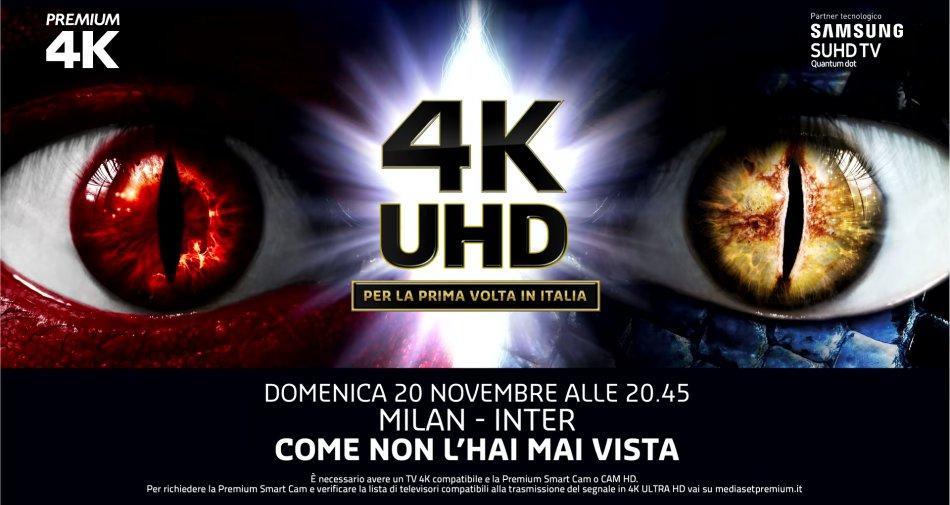 Per la prima volta il derby di Milano anche in 4K in esclusiva su Mediaset Premium Sport