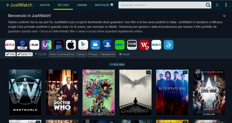 JustWatch, cerca film/serie su Netflix, Premium Play, Infinity, SkyGO e NOW TV