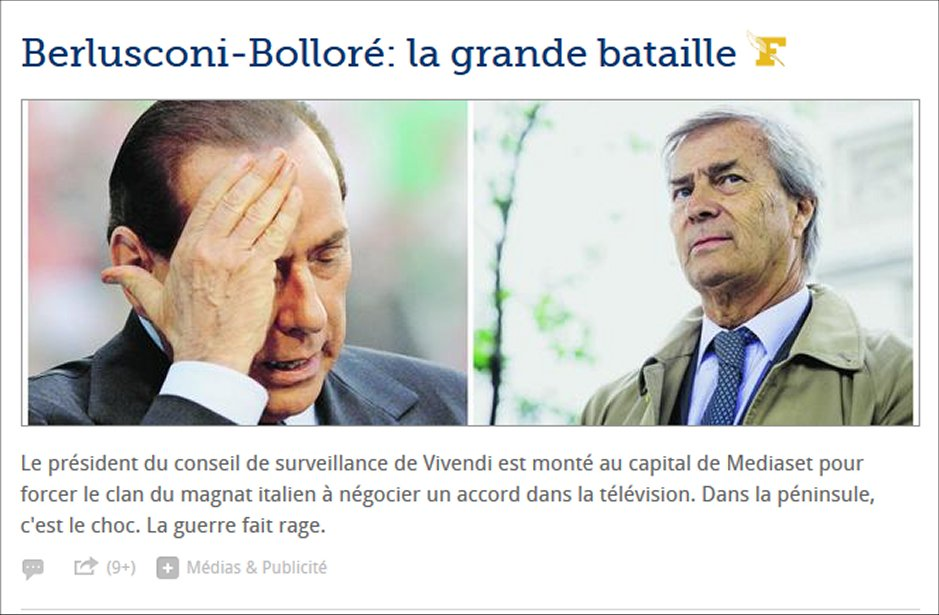 Le Figaro: «Berlusconi-Bolloré: la battaglia per Mediaset, uno scontro senza pietà»