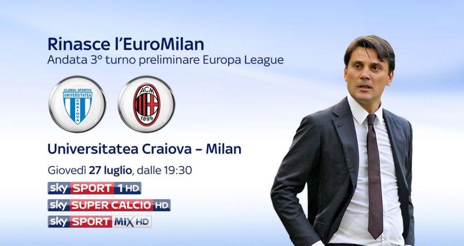 Europa League, Craiova vs Milan in diretta esclusiva su Sky Sport HD e TV8