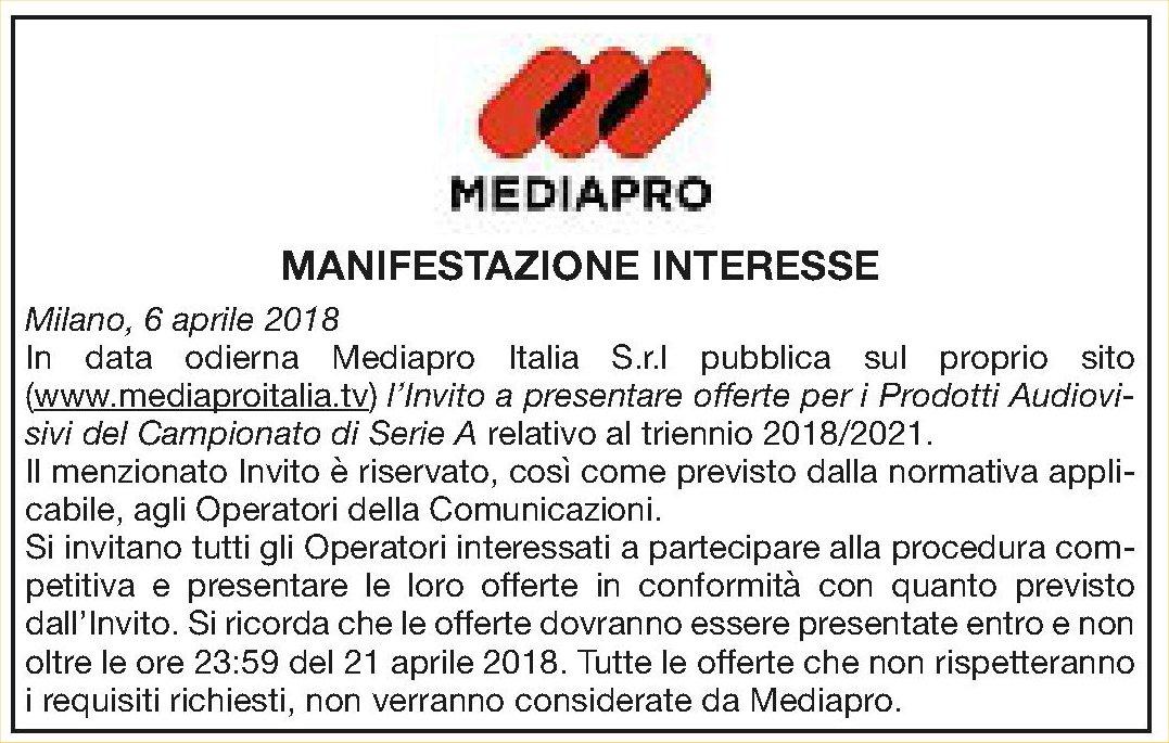 Diritti Tv Serie A 2018 - 2021, annuncio di MediaPro per invito a presentare offerte