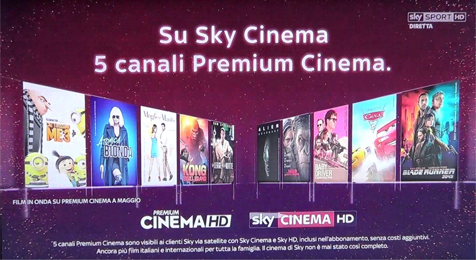 Dal 27 Aprile su Sky arrivano 5 canali Premium Cinema senza costi aggiuntivi