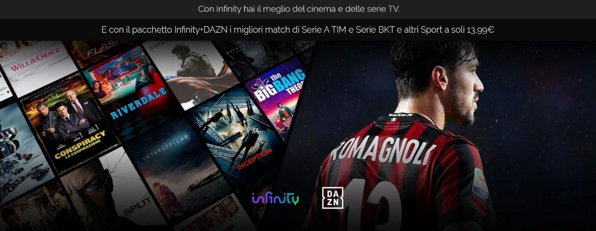 Infinity lancia il pacchetto congiunto con DAZN al costo di €13,99 al mese