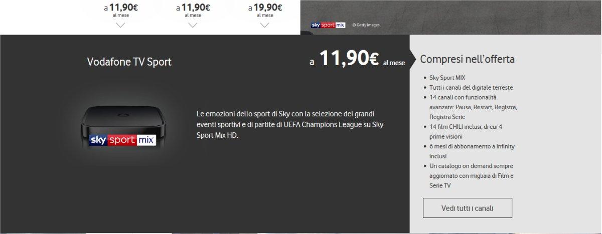 Vodafone TV, i match di Champions League grazie al canale Sky Sport Mix HD