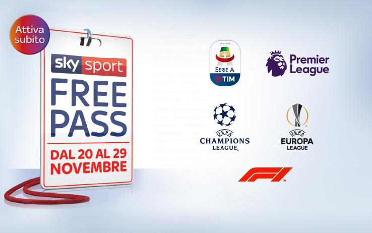 *Sky Sport Free Pass*, sul digitale terrestre senza costi aggiuntivi fino al 29 Novembre