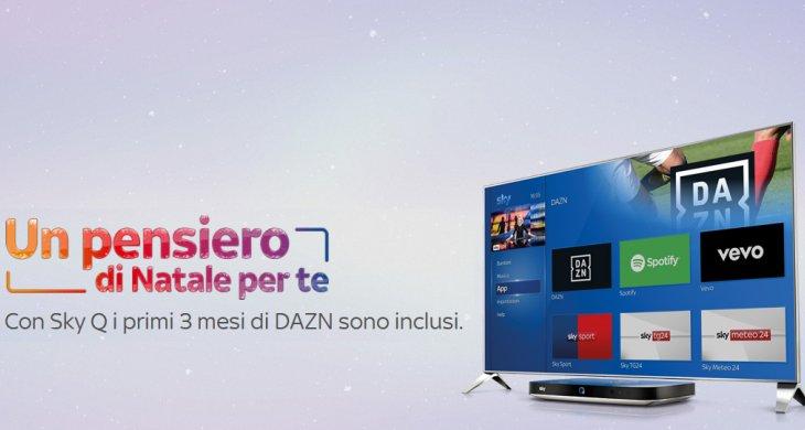 Un pensiero di Natale per te, Sky regala 3 mesi di DAZN gratis scegliendo Sky Q
