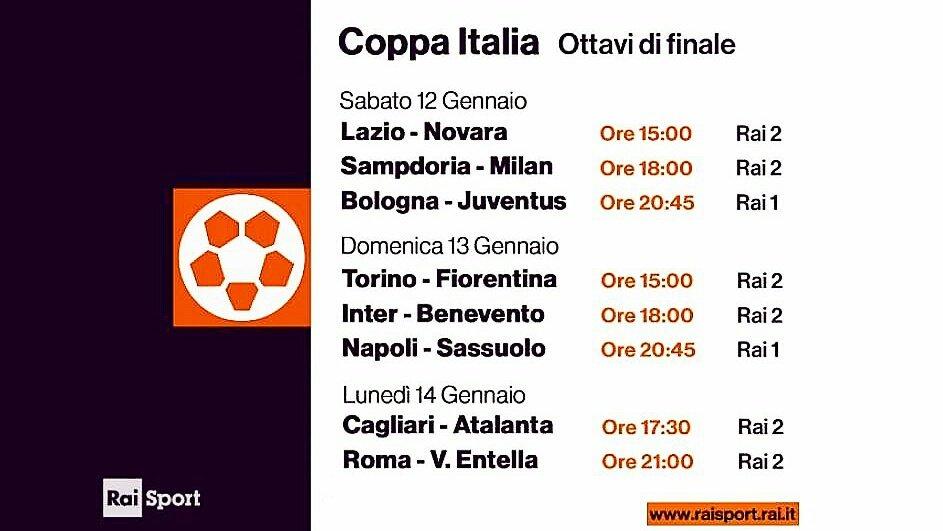 Rai Sport, Coppa Italia Tim Cup 2018/2019 Ottavi - Programma e Telecronisti