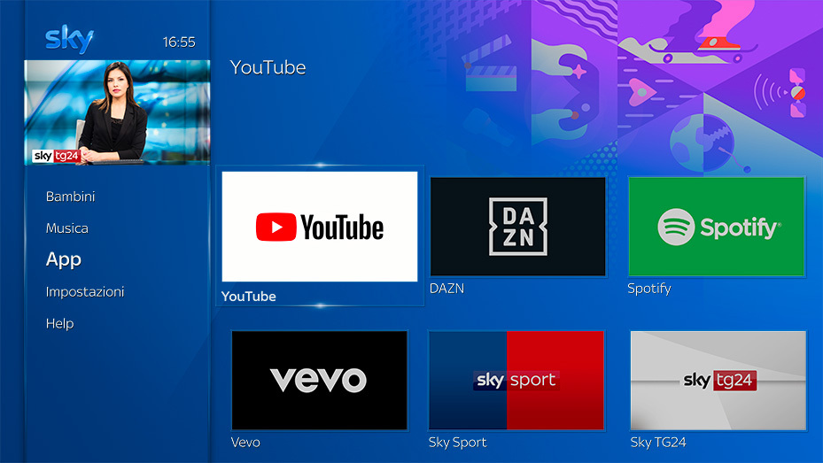 App Youtube arriva sui decoder Sky Q Platinum e Black
