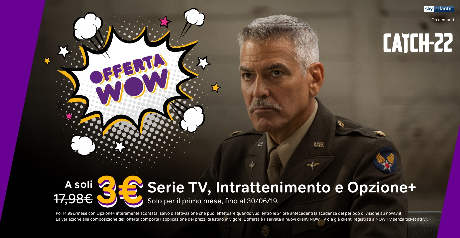 NOW TV lancia offerta WOW con un super sconto per il primo mese
