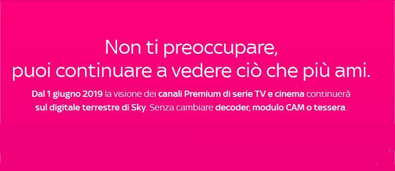 Canali Premium Cinema e Serie visibili sul digitale terrestre con Sky