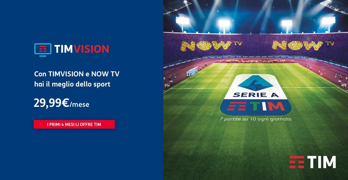 Disponibile su TIMVISION app Sky NOW TV – Ticket Sport. 4 mesi sono gratis.
