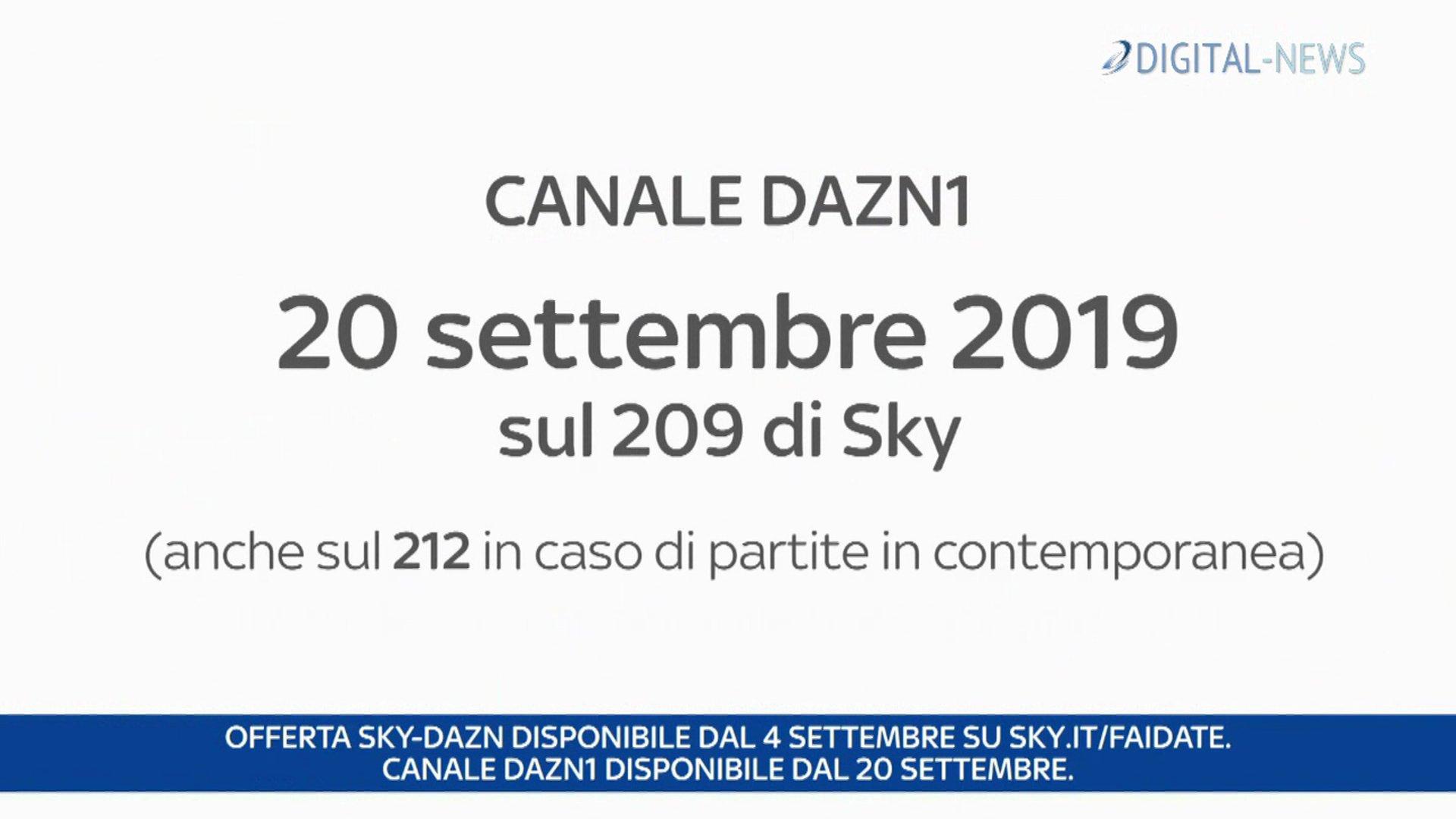 DAZN conferma accordo con Sky, dal 20 Settembre il canale satellitare DAZN1