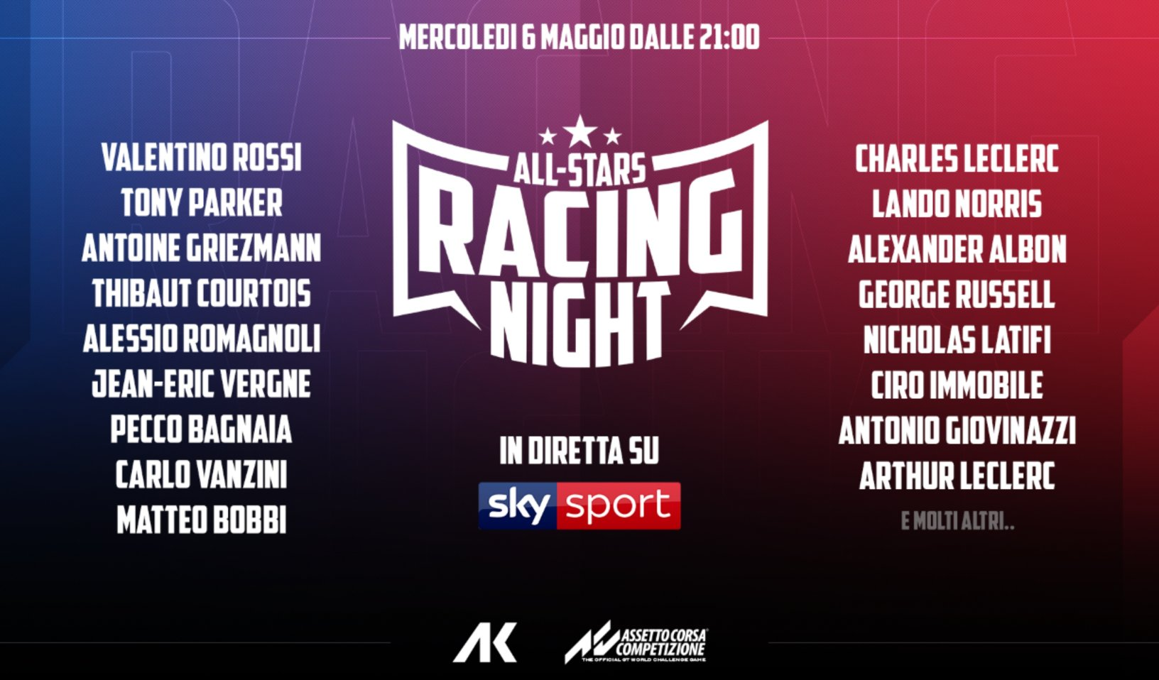 Formula 1 vs MotoGP nella «All stars racing night» in diretta su Sky Sport