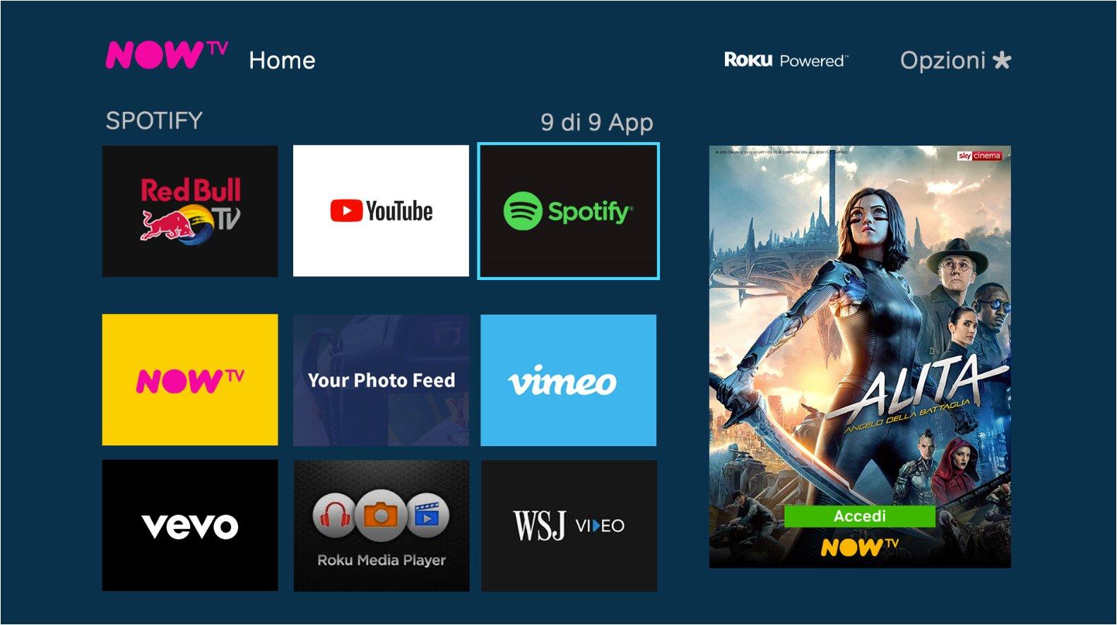 App Spotify 8.5.60 disponibile su NOW TV Smart Stick e TV Box