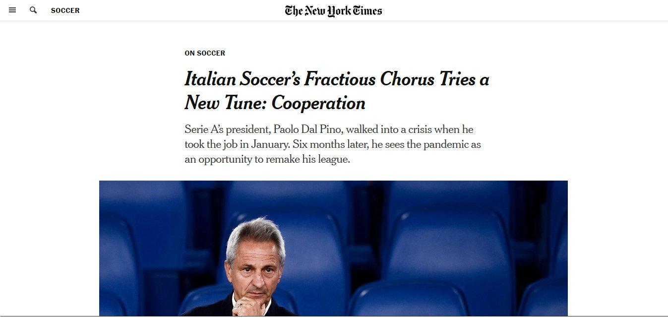 Dal Pino al New York Times: «Su diritti tv valutiamo alcuni fondi di investimento»